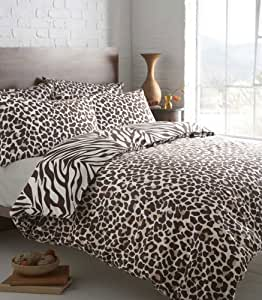 BROWN LEOPARD PRINT WITH BROWN ZEBRA REVERSE - KING SIZE DUVET QUILT COVER BED SET