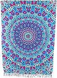 Sarong Pareo Mandala Kaleidoskop lila-blau-pink Wickelrock Strandtuch Tuch Wickelkleid