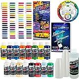 Createx–Aerógrafo de kit-super16Super Starter Kit con 100unidades–1onza mezcla de pintura aerógrafo de tazas, libro, Createx–Gráfico de colores de todos los 80colores y bolsillo para mezclar Color bolsillo Rueda
