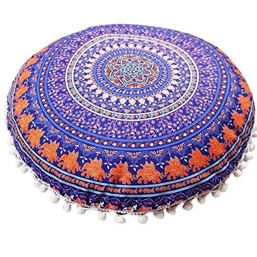 Indische Mandala-Kissen-rundes böhmisches Hauptkissen Pillowsham Kissen Pillowsham Wurfs-Kissen-Hauptdekor-Kissen (Color : D) - Druck-wurfs-kissen Indische