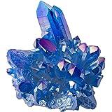 EXCEART Cristallo Cluster Quarzo Acquamarina Naturale Quarzo Cristallo Pietre Curative Ornamento da Tavolo per Soggiorno Scri