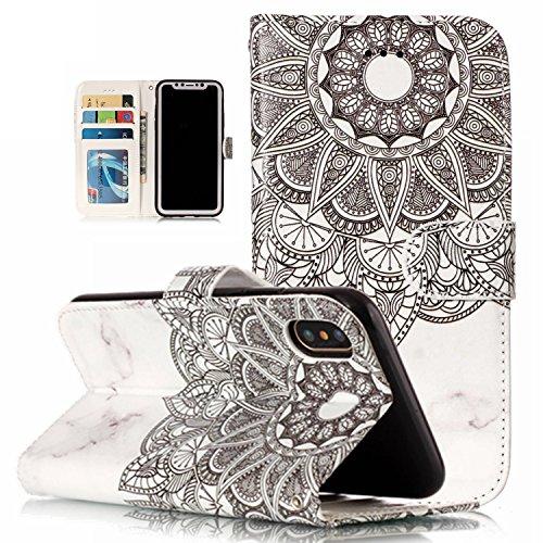 Coque iPhone X Cuir, Etui Housse Protection pour iPhone X, BONROY Peinture Modèle PU Cuir Flip Housse Étui Cover Case Wallet Portefeuille Fonction Support avec Porte-cartes pour iPhone X - marbre blanc