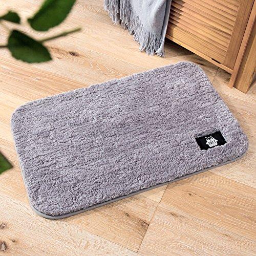Aik@ slip poliestere assorbimento dell'acqua zerbini,super soft peluche tappeto moderna tappeti ingresso bagno macchina lavabile-grigio 50x60cm(20x24inch)