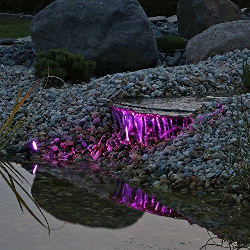 Teichstrahler Unterwasserbeleuchtung RGB LED Unterwasserlicht 8 Farben Farbwechsler einstellbar für Wasserspiele, Bachlauf, Wasserfall, Beleuchtung für Objekte im Garten, Teichbeleuchtung