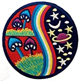 Stoner Beautiful Mushroom High Hippie Patch ''8 x 8 cm'' - Embroidered Iron On Patches Sew On Patches Embroidery Applikations Applique