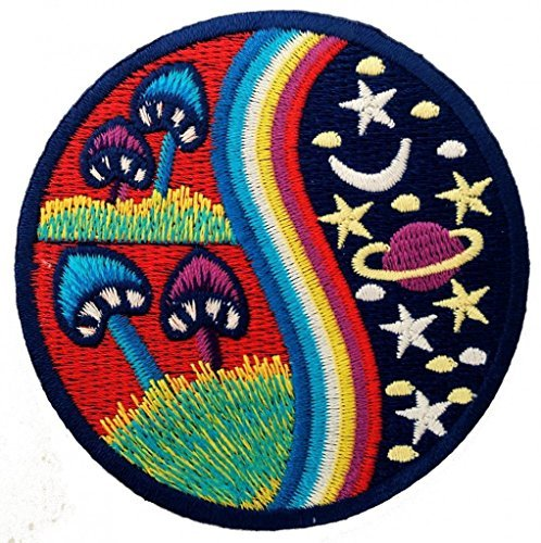 Setas coloridas Stoner Hermosa Mushroom alta Hippie Patch '8 x 8 cm'- Parche Parches Termoadhesivos Parche Bordado Parches Bordados Parches Para La Ropa Parches La Ropa Termoadhesivo Apliques Iron on Patch Iron-On Apliques