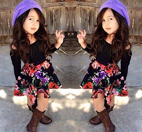 2 Stück Kinder Baby Mädchen Kleid Langarm Schwarz Tops + geblümten Rock Mode Kleidung, 5T (Alter: 4-5 Jahre) (Hello Kleinkind Kleidung Kitty)
