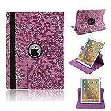 elecfan Étui de protection rotatif 360° Motif floral PU étui en cuir pour iPad, lilas, iPad Pro 12.9