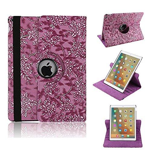 elecfan® Étui de Protection Rotatif 360 ° Motif Floral PU étui en Cuir pour iPad, Lilas, iPad Pro 12.9