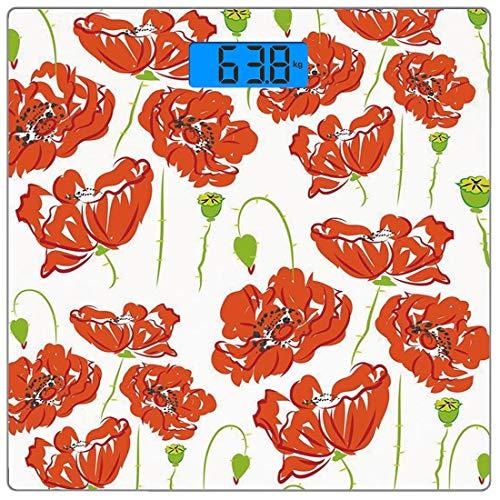Digitale Präzisionswaage für das Körpergewicht Platz Anemonenblume Ultra dünne ausgeglichenes Glas-Badezimmerwaage-genaue Gewichts-Maße,Gekritzel-Art Poppy Anemone Field im vollen Blüten-Mai blüht dek -