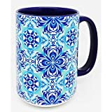 The Big Blue Mexican Talavera Design Jarra - Extra Large Jarra with blue glazed finish on large handle and interior
