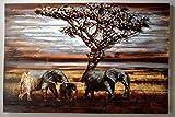 XXL Holzmetallbild Elefanten | Wandbild mit 3D-Effekt | 120 x 80 cm, vintage | Metall auf Holz