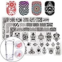 BORN PRETTY Salon Designs Nail Art Stamping Templates Scraper Kit with 4 Manicure Plate Set and 1 Polish Stamper
