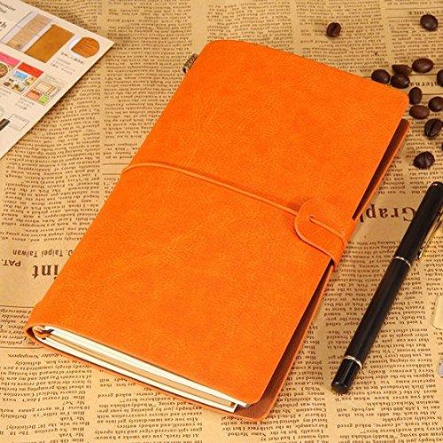 IBuyi Lederjournal Vintage Handmade Nachfüllbare Traveller's Notizbuch Tägliche Notizblock Großes Geschenk für Männer Frauen Studenten Kunst Sketchbook, Reise Tagebuch (Orange)