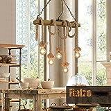 Maniny Designer Loft 8 Head Bois massif Chanvre Corde Lustre Restaurants Cafés Créatifs Magasins de vêtements Décorations Vintage Ropes Suspension , A...