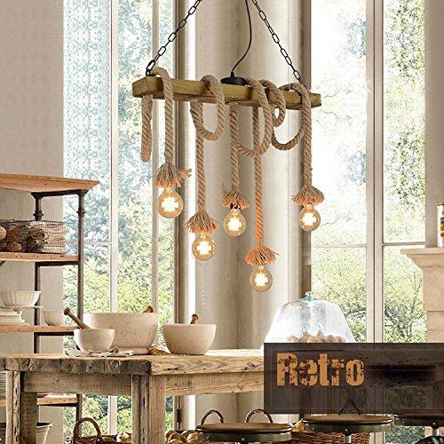 Maniny Designer Loft 8 Head Bois massif Chanvre Corde Lustre Restaurants Cafés Créatifs Magasins de vêtements Décorations Vintage Ropes Suspension , A