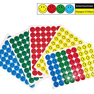 Coardor Emoji Aufkleber für Kinder Belohnung Runde Smiley Face Sticker 2700 Seiten Gelb Rot Grün Blau 50 Blatt mit 54 Aufklebern 540 Etiketten