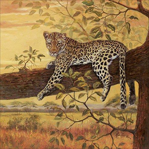 Artland Wandbilder selbstklebend aus Vliesstoff oder Vinyl-Folie A. Heins Ruhender Leopard Tiere Wildtiere Raubkatze Malerei Orange A6AH