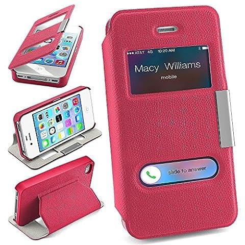 Pochette OneFlow pour iPhone 4 / 4S housse Cover à fenêtre   Flip Case étui housse téléphone portable à rabat   Pochette téléphone portable housse de protection accessoires téléphone portable protection bumper en BERRY-FUCHSIA
