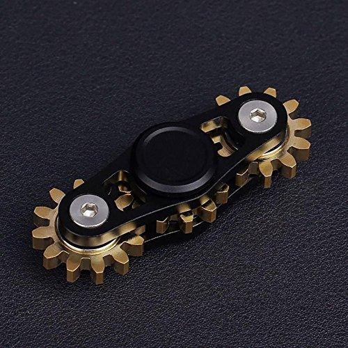 Preisvergleich Produktbild Hand Fidget Spinner, Blicker 2/3 Zahnräder Rad Metall Finger Spinner EDC ADHD Focus Spielzeug für Kinder Erwachsene (schwarz, 2 Geer)
