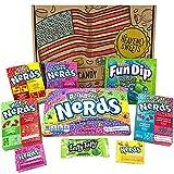 Mini Cesta Americana caramelos Wonka Nerds | Golosinas y barra de caramelos de selección en caja regalo | Surtido incluye Wonka Nerds Laffy Taffy | Caramelos Retro