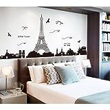 Pegatina de pared vinilo adhesivo decorativo para cuartos, dormitorio,cocina, ... vista de Paris Torre Eiffel Color Negro OPE