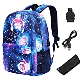 Mädchen Schulrucksack Schulranzen reflektoren Schulrucksäcke School bag for girl Laptop Rucksack + USB Kabel+ Geldbeutel/Mäppchen 2tlg. (Galaxy)