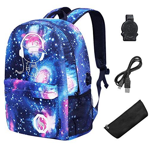 Mädchen Schulrucksack Schulranzen Reflektoren Schulrucksäcke School Bag for Girl Laptop Rucksack + USB Kabel+ Geldbeutel/Mäppchen 2tlg. (Galaxy) -