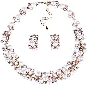 DELEY di Multi-Fila di Finte Perle Perline Cluster Strand Torsioni Bib Girocollo Collare Collana Orecchini Set