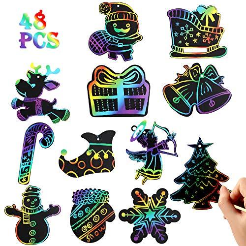 vamei 48pcs Scratch Art Magic Scratch Paper Ornamento di Natale Kit di attività artistiche e artigianali fai da te Regali di Natale per bambini Scratch di Babbo Natale con corde e stilo in leg (48pcs)