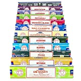 Satya Nag Champa Om Shanti incienso conjunto C1 12x15 gramo incluye: Nag Champa, Superhit, Om...
