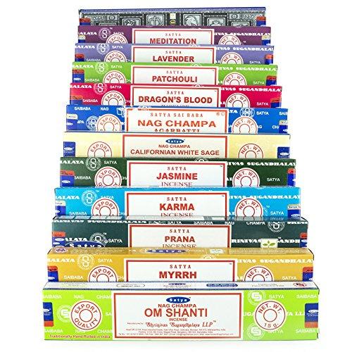 Satya Nag Champa Om Shanti incienso conjunto C1 12x15 gramo incluye: Nag Champa, Superhit, Om Shanti