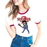 Camiseta Stranger Things Niña, Camiseta Stranger Things 3 Mujer Impresión Manga Ringer T-Shirt Abecedario Chicas Camiseta Str