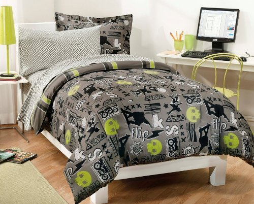 My Room Extreme Skateboarding Boys Comforter Set With 180Tc Sheets, Gray, Full by everydayhomeoutlet