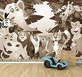 Vlies Fototapete - Kindertapete - Tiere Cartoon II - sephia - Sepia - 360x270 cm - mit Kleister - Foto auf Tapeten - Wandtapete – Vliestapete – Wanddeko
