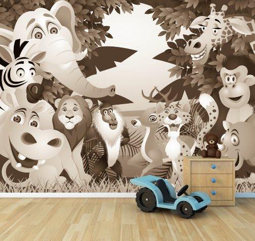 (Vlies Fototapete - Kindertapete - Tiere Cartoon II - sephia - Sepia - 265x200 cm - mit Kleister - Foto auf Tapeten - Wandtapete – Vliestapete – Wanddeko)