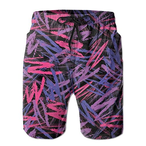 KAKICSA Crayon Scribbles Neon Colors Retro 80s Abstract Electric Men Bathing Suits Pants Pocket,Size:XXL