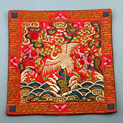 Generic Novelty Chinese Crane Pattern Dining Table Placemats Silk Fabric Square Waterproof non-slip Table Mat Embroidered protector Pad Red
