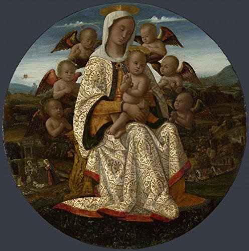 Das Museum Outlet-Bernardino Fungai-Die Jungfrau und Kind mit Cherubim, gespannte Leinwand Galerie verpackt. 40,6x 50,8cm - Kunstwerk Aufhänger Kinder