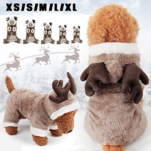 Bluelover animale domestico cane gatto alce costumi inverno vestiti cucciolo vestito natale cosplay - m
