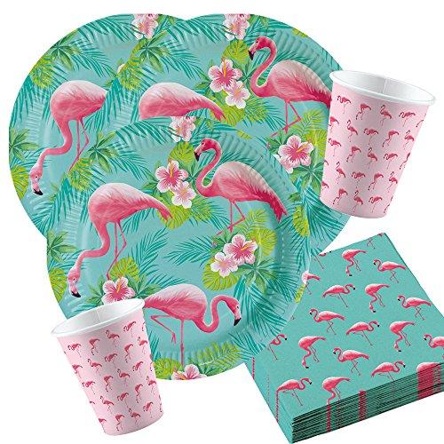 s Flamingo Party Set Nr. 2 für 8 Personen Geburtstags Deko Tischdeko ()