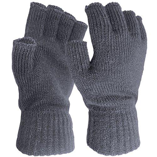 TOSKATOK® MENS WINTER PRACTICAL STRETCH WARM THERMAL KNITTED FINGERLESS HALF FINGER GLOVES (AIRFORCE BLUE)