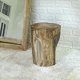 wohnfreuden Teak Holz Stamm Hocker massiv ca. 40 cm geschliffen Elefantenfuss