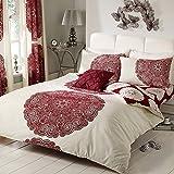 Just Contempo Parure de lit en polycoton Motif rayé/floral, Double Duvet Cover, Rouge (bordeaux, beige)
