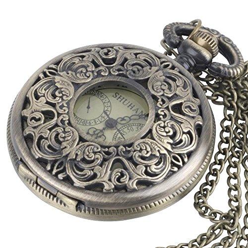 81stgeneration Reloj Mecánico en Latón De Bolsillo Colgante De Collar con Cadena Larga Vintage