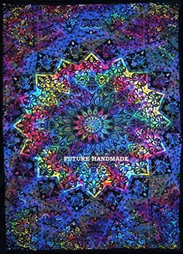 Future handmade blu star mandala tie dye elefante printed arazzi hippie gemella arazzo psichedelico indiano arazzo