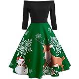 OGGID Donna Vestiti di Natale Elegante Abiti Stampa Natalizio Swing Vestito Sera Festa Abito da Ragazze Gonne A Vita Alta Tut