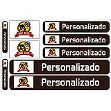 Haberdashery Online Kit 9 Pegatinas Personalizadas para Motos, automóviles o Bicicletas. Etiquetas con tu Bandera y tu Texto.