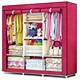 Absales Fancy and Portable Foldable Closet Wardrobe Cabinet Portable Multipurpose Clothes Closet Portable Wardrobe Storage Organizer with Shelves 3.5 Feet Folding Wardrobe Cupboard Almirah Foldable Storage Rack Collapsible Cabinet (Need to Be Assembled)