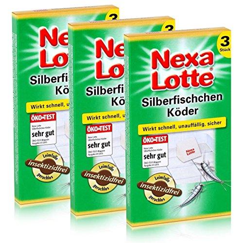 falle silberfische 3 x 3 (9 Stk.) Nexa Lotte Silberfischchen-Köder Leim-Falle hochwirksam